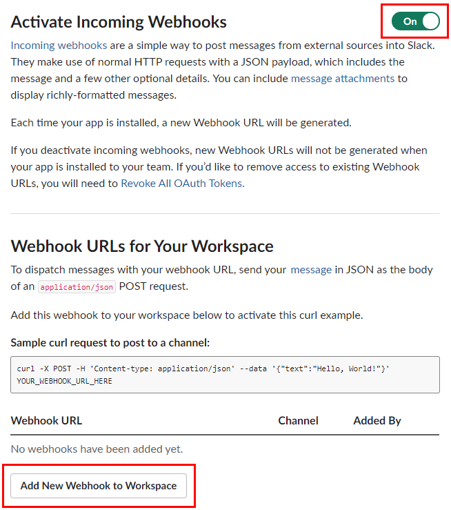 Slack activate incoming webhooks annotated